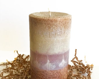 Almond Biscotti Organic Palm Pillar, Rustic, Home Decor, Home Fragrance, Gift Candle,