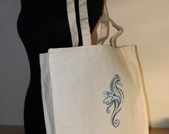 Custom Embroidered Seahorse Canvas Tote Bag- Eco Friendly Shopping Bag