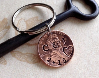 Personalized 7 Year Anniversary Keychain/ Hand Stamped Penny/ 2010 2009 Couple Gift/ Wedding /1st Anniversary/ Gift for Her Gift For Him