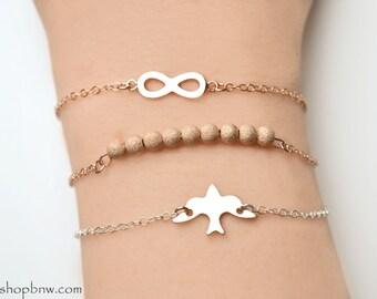 Dove Bracelet / Sterling Silver, Gold, Rose Gold / Delicate Bracelet / Layering Bracelet