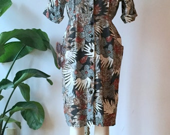 vintage wild print cotton dress