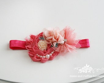 Vintage Style Coral Baby Headband, Baby Girl Headband, Newborn Headband, Flower Headband, Baby Photo Prop, Infant Headband, Toddler Headband