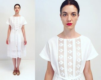 Vtg 60s 70s White Lace Cotton Dress