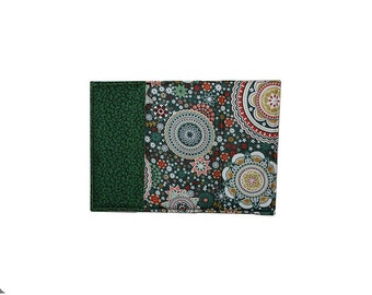 Mandala Fabric, Insulated Fabric Coaster, Quilted Drink Coaster, Forest Green Kitchen, Gold Flower Textile, Teacher Gift, Coffee Lover Gift