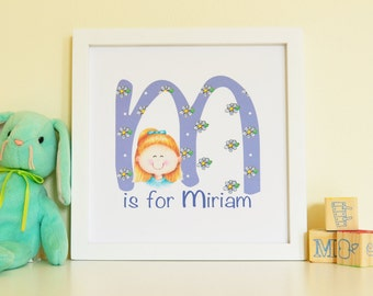 Custom Children's art, Children's Prints, Custom Nursery art, Custom kid's art, Cute Children's art, Custom Portrait art, Alphabet art,