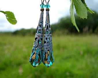 Victorian Earrings - Crystal Earrings - Teardrop Earrings - Dangle Drop Earrings - Long Earrings - Turquoise Earrings - Purple Earrings Gift