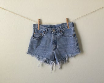 Distressed Jean High Waisted Shorts | 90s look | Blue Jean Cut Off Denim | Distressed Fringed Frayed Women Shorts |