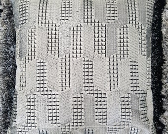 Cushion embroidered grey - creating hand-made cover