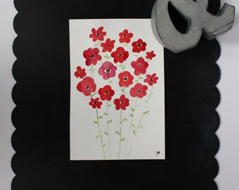 Field of Poppies | 6x9 inch original watercolor painting of red flowers