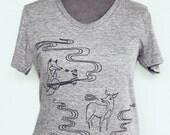 Grey Fox T-shirt - Fox Tshirt Womens Clothing Tshirt - Limited Edition American Apparel tshirt