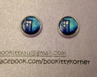 Doctor Who Tardis Silver Tone Stud Earrings 10mm
