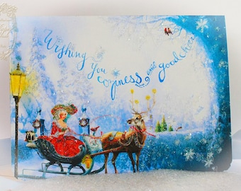 Marie Antoinette Christmas Cards Coziness and Good Cheer 5 x 7 Christmas Card Set of 6 with Shimmering Snow White Envelopes and Seals