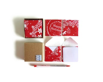 Merry Christmas Stationery Set, Small Square Red Envelopes, Blank Note White Cards, Happy Holidays Greetings Cards Gift Tags, Gifts Under 15