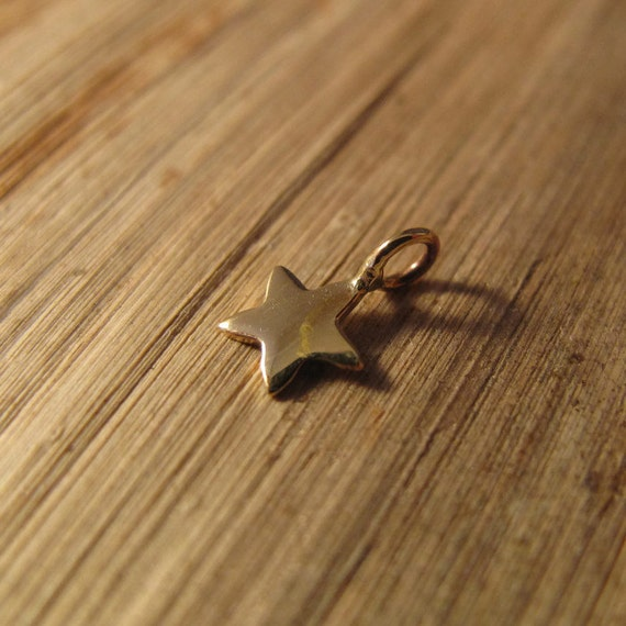 Tiny Star Charm, Shiny Gold Natural Bronze Star Charm for Jewelry Making, 8mm x 5.2mm, Charm Necklace or Bracelet (CH 3050)