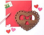 Valentine Card wooden valentine, kissing bunnies gift, woodland valentine heart art print