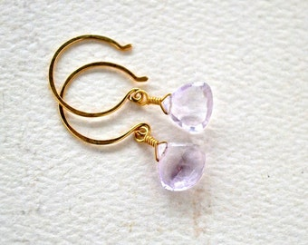 Pink Sky Earrings - pale pink amethyst earrings, pink drop earrings, simple pink amethyst drop earrings, handmade pink bridesmaid jewelry