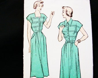 1930s Dress Pattern Misses size 12 UNCUT New York Pattern Womens Day Dress Square Neckline Bodice Tucks Vintage Sewing Pattern 40s