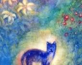SMALL 4x5 Blue Cat Postcard