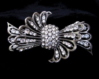 VINTAGE Rhinestone BROOCH Art DECO Pin Pot Metal French Paste Large Bow 1930s 1940s Crystal Old Jewelry Holiday Gift