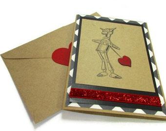 Valentines Day Card - Wizard of Oz Handmade Card - Tin Anniversary - Tin Man - I Love You - Heart Transplant - Boyfriend Card