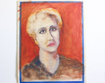 Vintage Portrait Painting / Outsider Art / 15 x 19 / Acrylic on Found Paper
