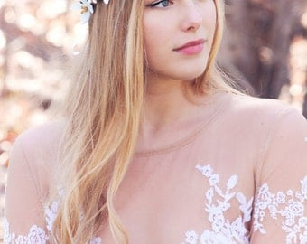 white apple blossom boho wedding wreath, bridal flower crown, bridal headband, wedding headband, bridal headpiece, wedding accessories
