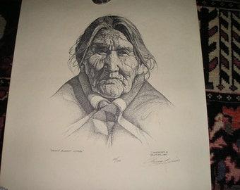 "Vintage Authentic Native American Indian Art""Navaho Blanket Woman""Signed Dan Brewer Buffler Western Art Print w/papers."