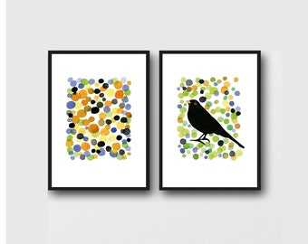 Bird watercolor, modern wall art set of 2 prints, bird prints, watercolor prints, colorful wall art, office art, home decor