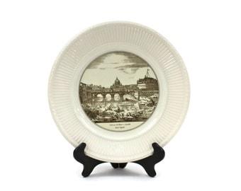 "Wedgwood Dinner Plate - Edme Plate, Piranesi Print Plate, Vintage Creamware Plate, ""Veduta del Ponte e Castello Sant 'Angelo"", c.1940s"