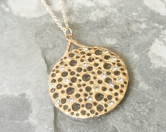 Gold CZ Medallion Necklace