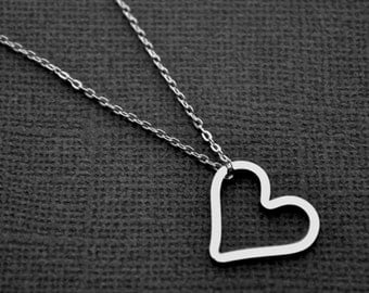 Sterling Silver Open Heart . Layering Necklace
