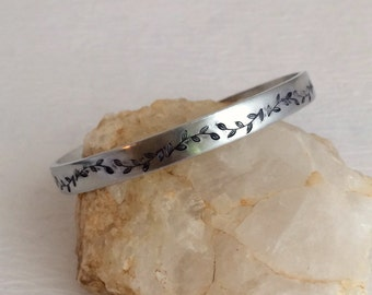 Vines Cuff Bracelet, silver adjustable hand stamped vine stacking aluminum leaves flowers birthday woman gift gifts for her