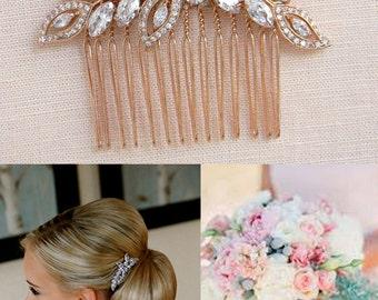 Rose Gold Bridal Comb, Rose Gold Wedding headpiece, Hair clip, Wedding hair comb, Swarovski Pearls, Wedding jewelry, Linneah Bridal Comb