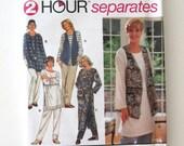 1990s Plus Size Dress Tunic Pants Vest Pattern Simplicity 8783 Womens Easy Casual Separates Wardrobe Pattern Size 26W-32W Bust 48-54 UNCUT