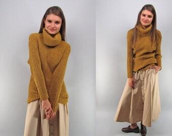 Vintage 80s Khaki Skirt, Full Maxi Skirt, High-Waist Skirt, Minimalist Skirt, 80s Skirt Δ size: xs / sm
