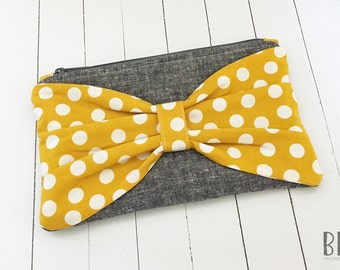 Mustard Polka Dot Bow Clutch - Fabric Wristlet - Bridesmaid Clutch - Customizable - Retro Pouch - Shopping Zipper Bag