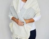 Fashion Women Accessories Clothing Organic Hand Woven Wool Wrap Top Jacket Shoulder Wrap Wool Shawl Sweater Wrap Poncho Indigo