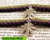 Purple Black Lime Green Hemp Marijuana Leaf Roach Clip Bracelet, Best Buds Friendship Bracelets, 420 Cannabis Hemp Friendship Bracelets