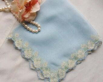 Baby Blue Silk Chiffon Hanky, Sheer Floral Organza Hanky, Flocked White Roses