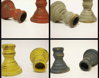 Candle Stick - Made To Order, Turned Wood Candle Sticks, Primitive Candle Holders, Country Candle Sticks