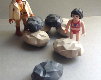Playmobil Rocks, grey and black, 2 sizes, set of 7, replacement Playmobil Supplies  parts, original, egst, Greece
