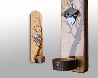 Wall Mounted Bottle Opener with Pyrography Tree Art - Brushed Chrome Opener on a Solid Maple Base & Maple Tree Slice Cap Catching Bowl