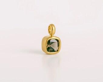 Solitaire Pendant Necklace, Brown Gemstone Pendant, Smoky Quartz, Square Bezel Pendant for Women, 22k Gold Necklace,Gem Stone
