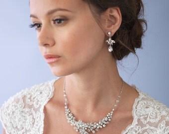 Swarovski Crystal Jewelry Set, Bridal Accessories, Silver Bridal Jewelry Set, Wedding Accessories, Swarovski Crystal Jewelry Set ~JS-1655