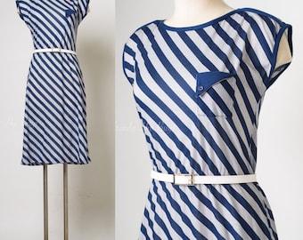 Vintage 80s Dress, Vintage Blue Dress, Blue Stripe Dress, Vintage Stripe Dress, Aline dress - S/M