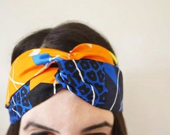 African Print Headband/ Ankara Headband/ Geometric Print/ Vlisco / Blue Orange/ Turban Headband/ Fabric Headband/'Amara' Style