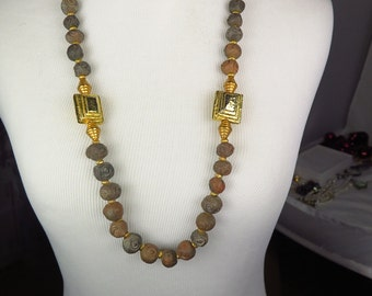 Estate Vintage Cadoro Signed Natural Stone Necklace RARE, Statement, Brutalist