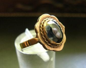 Vintage Art Nouveau 18k Hematite Ring