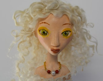 OOAK Art Doll, Sculpted Paper Clay Doll, White Hair, Handmade Doll, DIANA