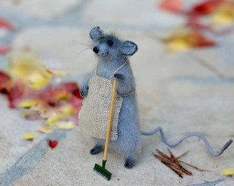 Gardener mouse stuffed animal mouse handmade toy mouse amigurumi mice ready to ship